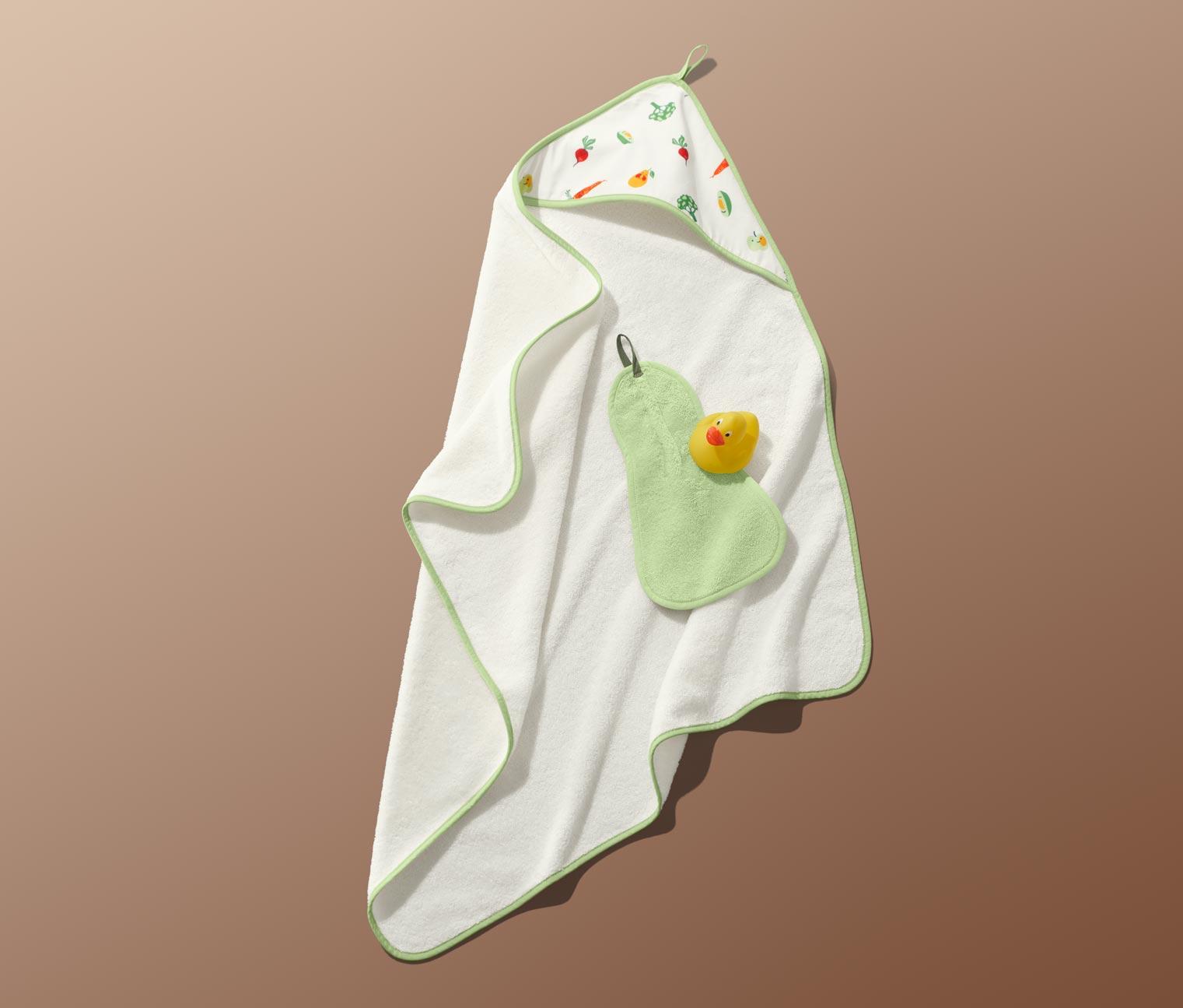 Kapuzenhandtuch und Waschlappen in Birnenform