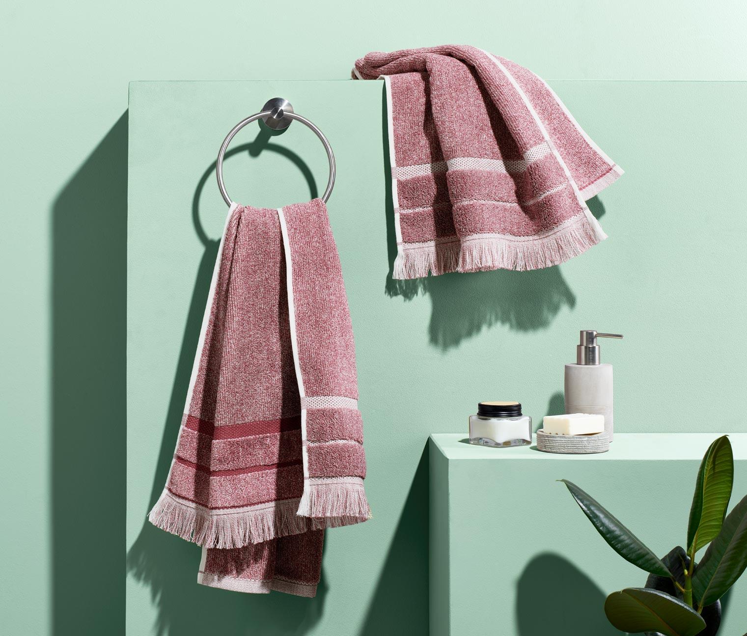 Image of 2 melierte Handtücher, rosa